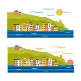 Mediterranean and Europe Travel Destination Scene Landscape. Vector Stock Image