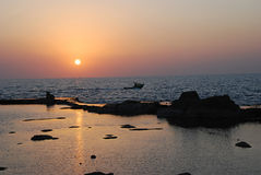 The Mediterranean evening. Kind of the coming sun and the evening sea Royalty Free Stock Image