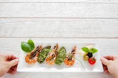 Mediterranean exotic seafood serving, copyspace Royalty Free Stock Photography