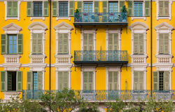 Mediterranean facade with illusion paint work in Nice France Stock Photos