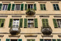 Mediterranean facade of the old building with balconies Stock Images