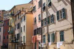 Mediterranean facades in Riomaggiore, Italy Stock Images
