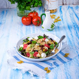 Mediterranean Farfalle salad with dry tomatoes and pine cores. A Mediterranean Farfalle salad with dry tomatoes and pine cores Royalty Free Stock Images