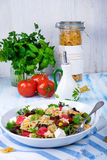 Mediterranean Farfalle salad with dry tomatoes and pine cores. A Mediterranean Farfalle salad with dry tomatoes and pine cores Royalty Free Stock Photography
