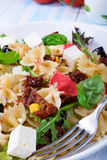 Mediterranean Farfalle salad with dry tomatoes and pine cores. A Mediterranean Farfalle salad with dry tomatoes and pine cores Royalty Free Stock Photos