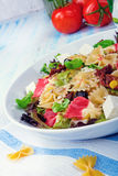 Mediterranean Farfalle salad with dry tomatoes and pine cores. A Mediterranean Farfalle salad with dry tomatoes and pine cores Stock Photos