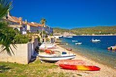 Mediterranean fishermen town of Vis coast Stock Images