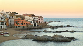Mediterranean Fishing Village at Dusk stock video footage