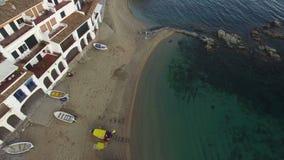 Mediterranean Fishing Village Vertical High Aerial Shoot stock footage