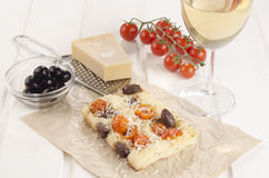 Mediterranean flat bread on brown paper Stock Image