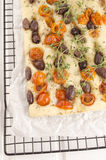 Mediterranean flat bread on cooling rack Stock Image