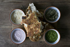 Mediterranean flat bread with dip Stock Images
