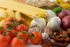 Mediterranean food. Products collection for pasta. Mediterranean food Royalty Free Stock Images