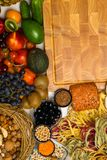 Mediterranean Food background. Assortment of fresh fruits and vegetables Top view. Mediterranean Food background. Assortment of fresh fruits, vegetables, nuts Stock Image