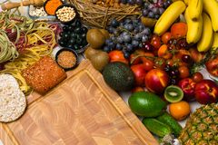 Mediterranean Food background. Assortment of fresh fruits and vegetables Top view. Mediterranean Food background. Assortment of fresh fruits, vegetables, nuts Royalty Free Stock Photography