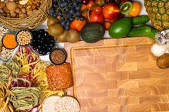 Mediterranean Food background. Assortment of fresh fruits and vegetables Top view. Mediterranean Food background. Assortment of fresh fruits, vegetables, nuts Royalty Free Stock Photo