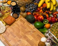 Mediterranean Food background. Assortment of fresh fruits and vegetables Top view. Mediterranean Food background. Assortment of fresh fruits, vegetables, nuts Royalty Free Stock Images