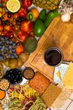 Mediterranean Food background. Assortment of fresh fruits and vegetables Top view. Mediterranean Food background. Assortment of fresh fruits, vegetables, nuts Stock Photo