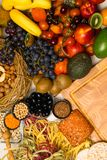 Mediterranean Food background. Assortment of fresh fruits and vegetables Top view. Mediterranean Food background. Assortment of fresh fruits and vegetables Royalty Free Stock Images