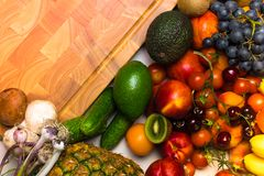 Mediterranean Food background. Assortment of fresh fruits and vegetables Top view. Mediterranean Food background. Assortment of fresh fruits and vegetables Stock Photography