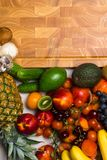 Mediterranean Food background. Assortment of fresh fruits and vegetables Top view. Mediterranean Food background. Assortment of fresh fruits and vegetables Royalty Free Stock Photography