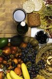 Mediterranean Food background. Assortment of fresh fruits and vegetables Top view. Mediterranean Food background. Assortment of fresh fruits and vegetables Stock Photos