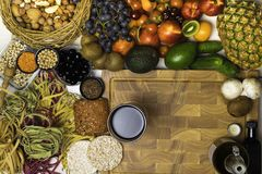 Mediterranean Food background. Assortment of fresh fruits and vegetables Top view. Mediterranean Food background. Assortment of fresh fruits and vegetables Stock Image