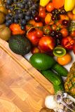 Mediterranean Food background. Assortment of fresh fruits and vegetables Top view. Mediterranean Food background. Assortment of fresh fruits and vegetables Royalty Free Stock Image