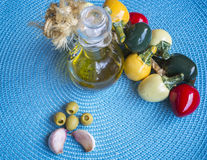 Mediterranean food background. Olive oil Royalty Free Stock Photos