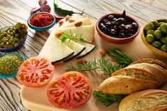 Mediterranean food bread oil olives cheese Stock Images