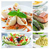 Mediterranean Food Collage. With salad, pasta, salmon and asparagus Stock Photography