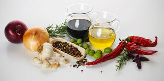 Mediterranean food ingredients. On white background, not isolated Royalty Free Stock Photography