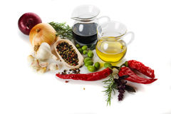Mediterranean food ingredients. Mediterranean spices and food ingredients, isolated on white background Royalty Free Stock Photography