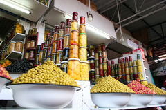 Mediterranean food - olives. Olives shop in Marrakech market Stock Photography