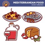 Mediterranean food vector collection of special tasty dishes. Hot risotto with mussels, roasted fish with lemon, huge carafe of wine and wheel of cheese with Stock Photos