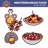 Mediterranean food vector collection of tasty exquisite dishes Stock Photo