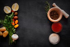 Mediterranean Food Vegetables And Sauces On The Chalkboard. Top View Royalty Free Stock Images