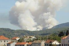 Mediterranean forest wildfire. Mediterranean forest fire - beginning of disaster in Greece royalty free stock photos