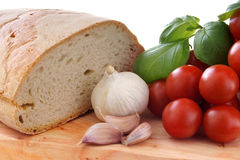 Mediterranean gastronomy whit tomato onion bread Royalty Free Stock Photos
