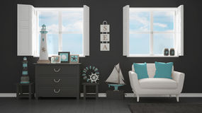 Mediterranean gray living, panoramic windows, summer hotel resor Royalty Free Stock Photography