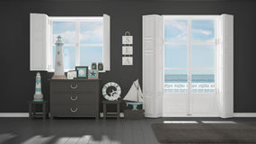 Mediterranean gray living, windows with sea panorama, summer hot. El resort interior design Royalty Free Stock Images