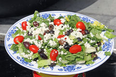 Mediterranean Greek salad with feta cheese and olives Stock Images