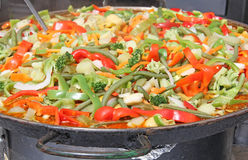 Mediterranean Greek sauteed vegetables Green beans peppers onions Royalty Free Stock Photography