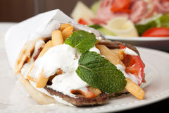 Mediterranean Gyro Pita Wrap Stock Photography