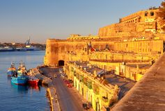 Valletta. Mediterranean harbor. Stock Photos