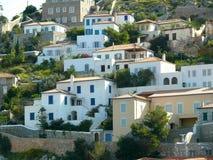Mediterranean hillside seaside island town of Hydra Greece. Buildings on hillside Mediterranean seaside Greek island town of Hydra Greece Stock Images