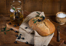 Mediterranean homemade olive bread Royalty Free Stock Photography