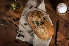 Mediterranean homemade olive bread, top view Royalty Free Stock Images