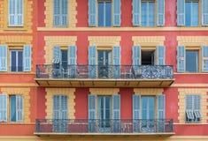 Mediterranean house facades in Nice Royalty Free Stock Photos
