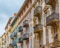 Mediterranean house facades in Nice Royalty Free Stock Photo